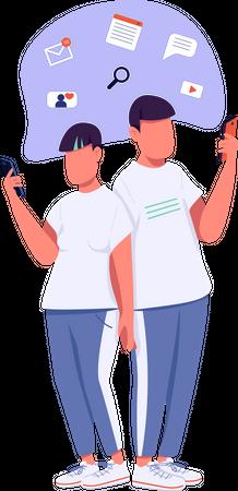 Gen Z couple communicating online Illustration