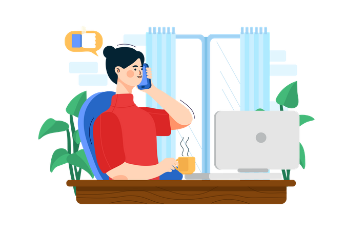 General manager talking on the phone Illustration