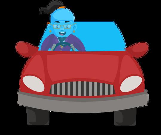 Genie driving car Illustration