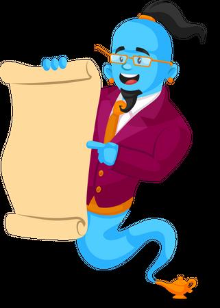 Genie reading letter Illustration