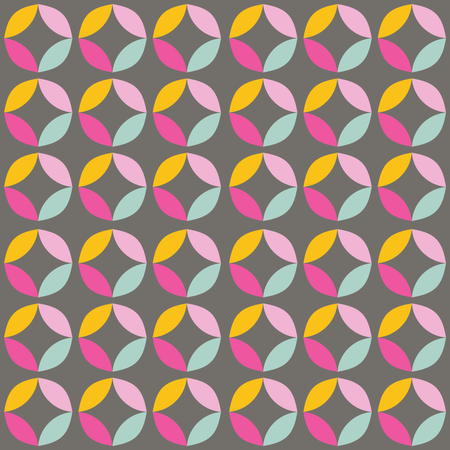 Geometric seamless pattern with colorful circles in retro design Illustration