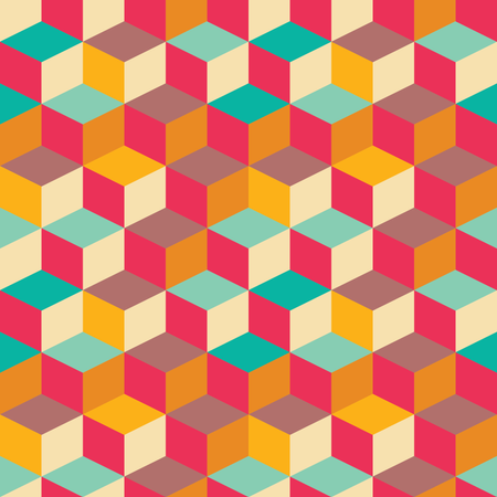 Geometric seamless pattern with colorful squares in retro design Illustration