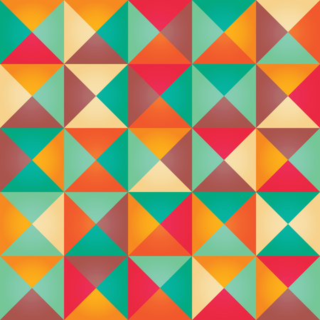 Geometric seamless pattern with colorful triangles in retro design Illustration
