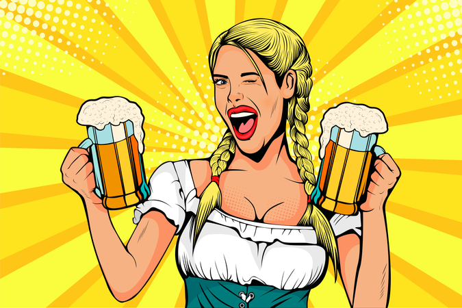 Germany Girl waitress carries beer glasses Illustration