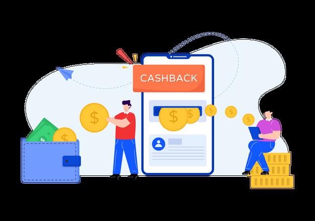 Getting cashback via credit card Illustration