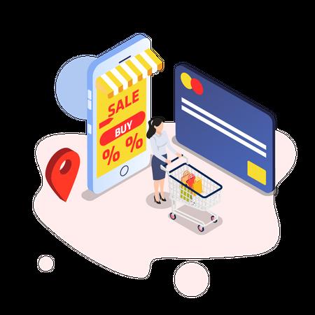 Getting online discount via credit card Illustration
