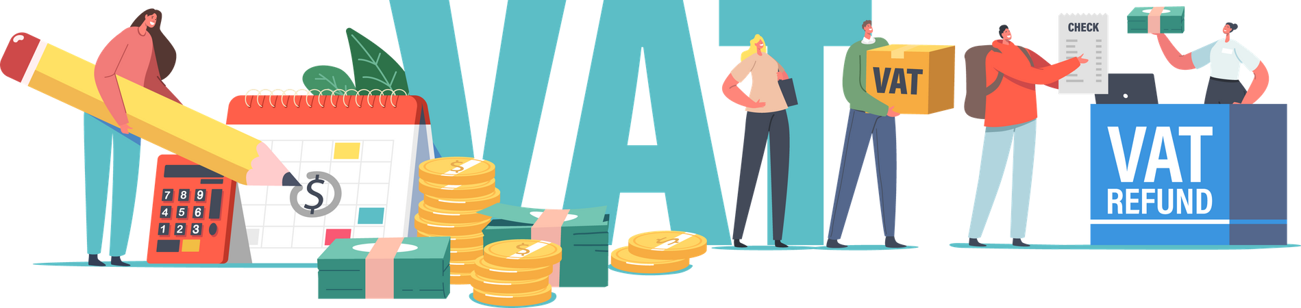 Getting Refund for Foreign Shopping in Airport Illustration