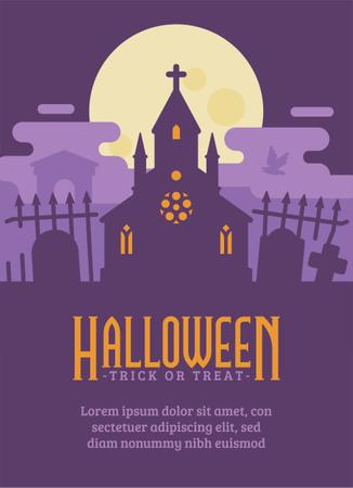 Ghost Chapel Halloween Flyer Illustration