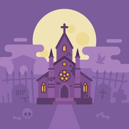 Ghost Chapel Halloween Scene Illustration