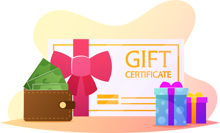 Gift Certificate with Wallet Illustration