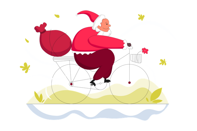 Gift Distribution by Santa Illustration