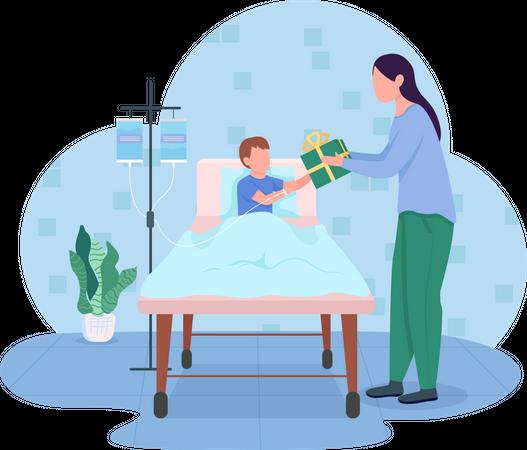 Gift donation to hospital Illustration