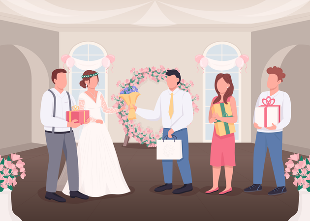 Gifts for bride and groom Illustration