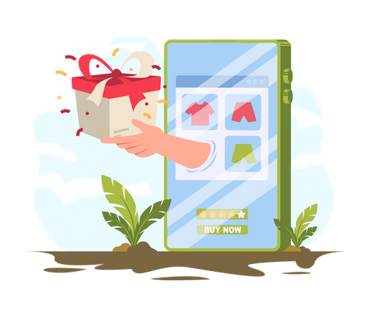 Gifts given as online shopping rewards Illustration