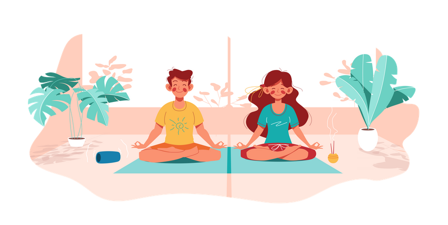 Girl and boy do yoga in lotus pose Illustration