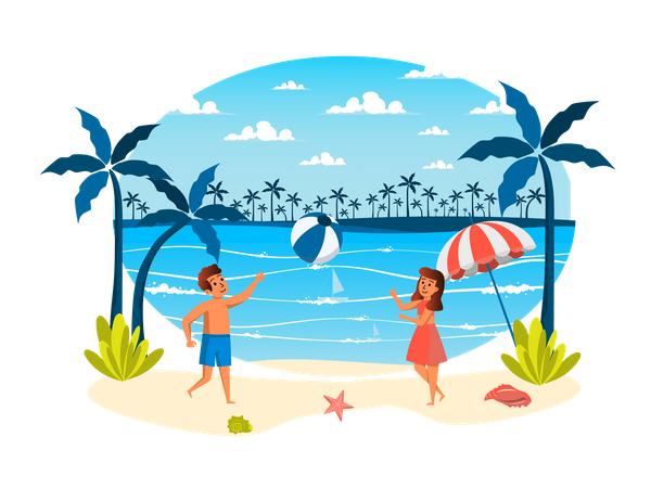 Girl and boy playing ball on beach Illustration