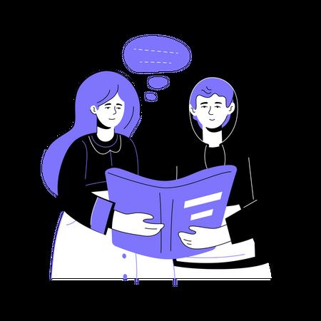 Girl and boy reading Illustration