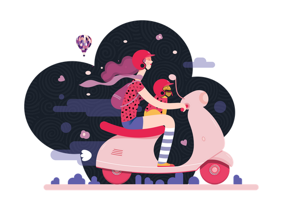Girl and her pet riding on scooter Illustration