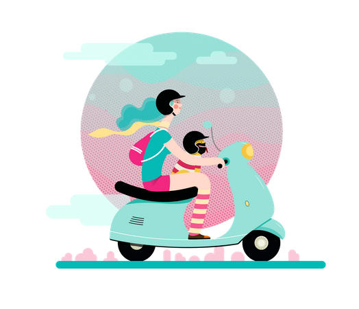 Girl and her pet riding scooter Illustration