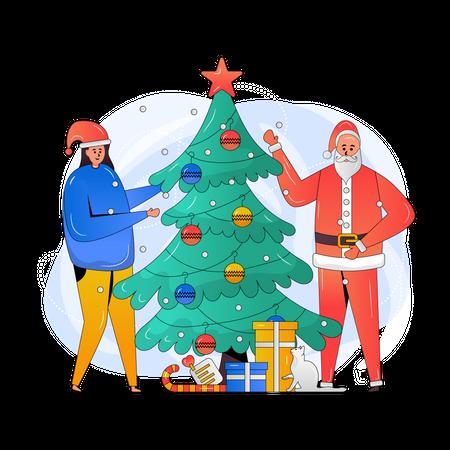 Girl and Santa celebrating Christmas Illustration