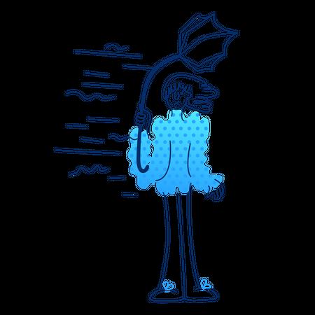 Girl and stylish wind Illustration