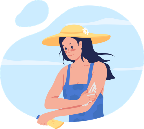Girl applying sunscreen lotion on arms Illustration