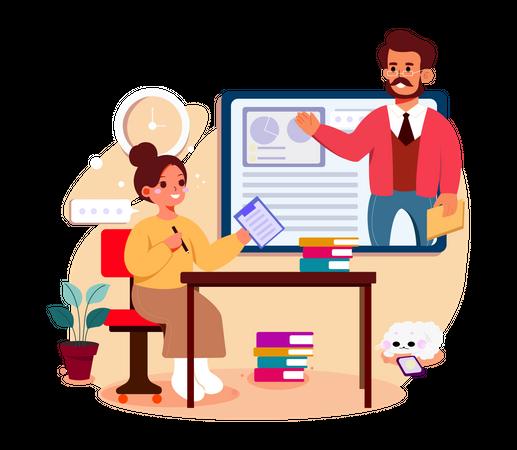 Girl attending online Business meeting Illustration