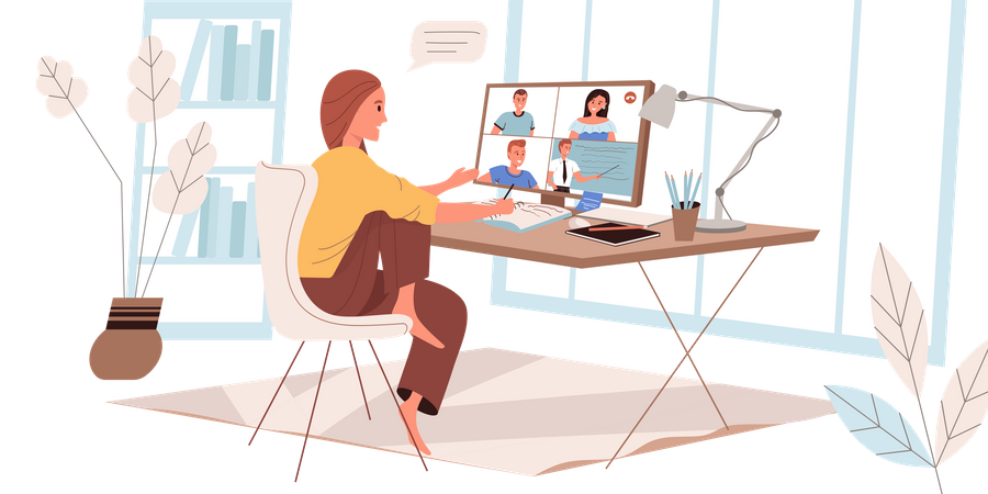 Girl Attending Online Class Illustration