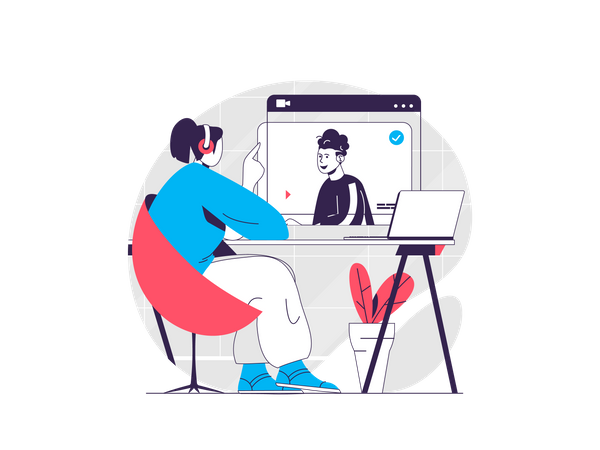 Girl attending video lecture Illustration