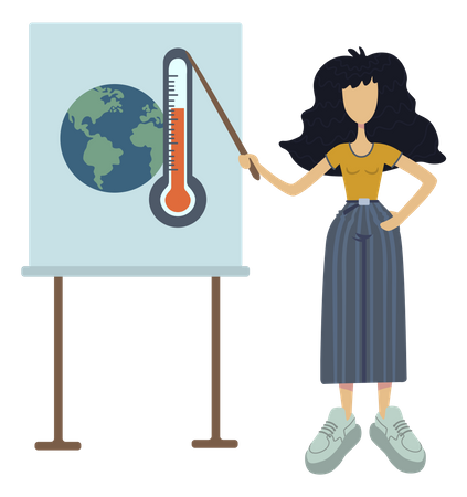 Girl aware about global warming Illustration