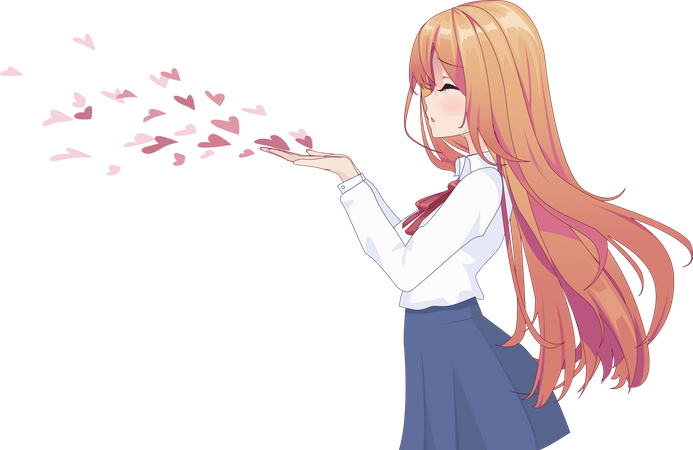 Girl blowing flying kiss Illustration