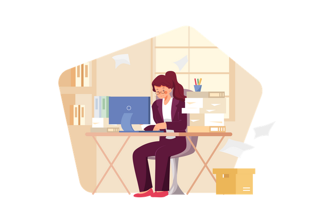 Girl busy at the workplace Illustration