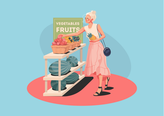Girl buying fruits in store Illustration