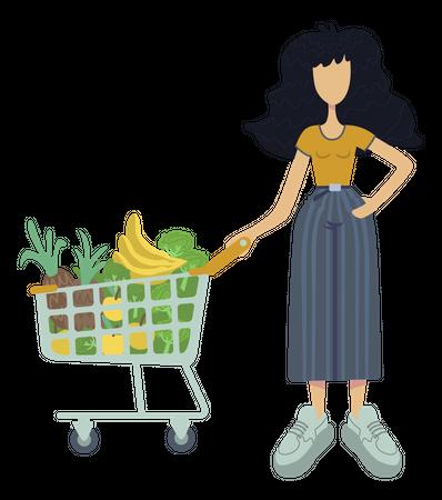 Girl buying vegetable for meal Illustration