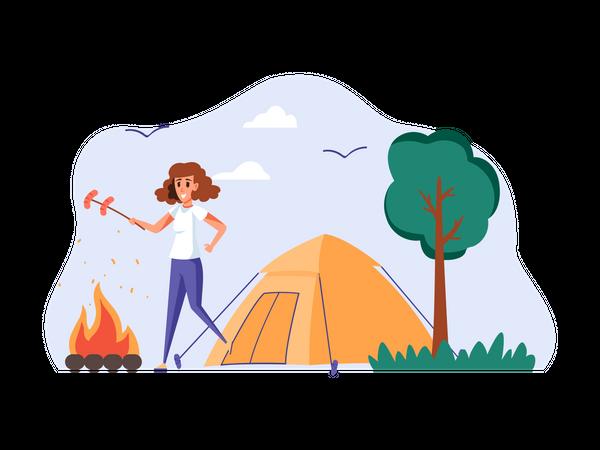Girl camping Illustration
