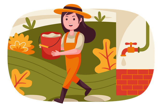 Girl carrying water bucket in hand Illustration