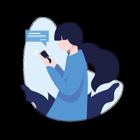Girl chatting on phone Illustration