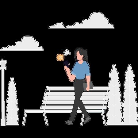 Girl chatting on social app Illustration