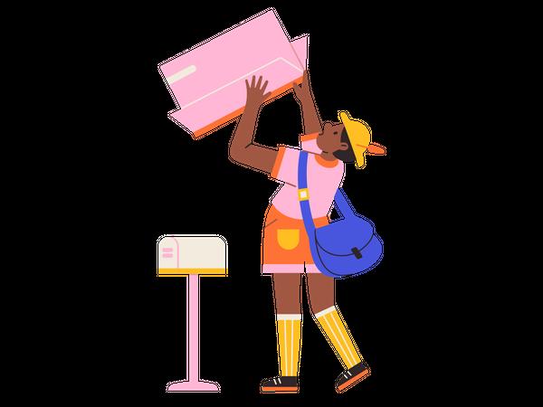 Girl checking mailbox Illustration