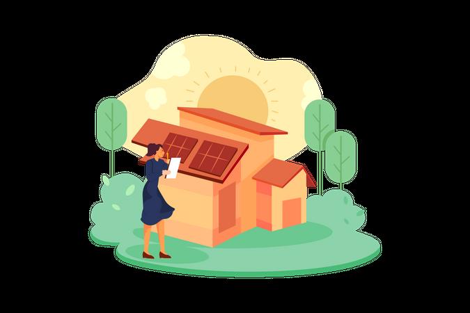 Girl checking solar planels Illustration