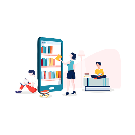 Girl choosing books from online books collection application Illustration