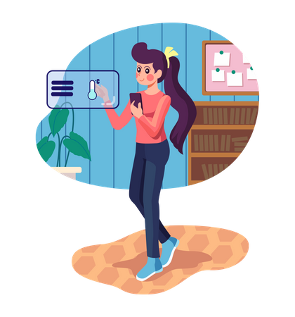 Girl controlling Air conditioner using mobile Illustration