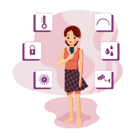Girl controlling smart devices using her mobile Illustration
