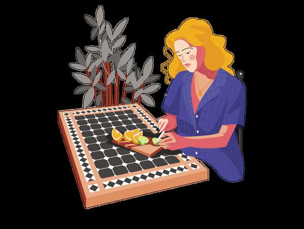 Girl cutting fruits Illustration