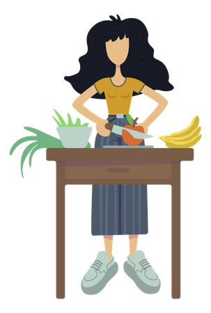Girl cutting fruits for diet meal Illustration