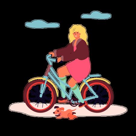 Girl cycling Illustration