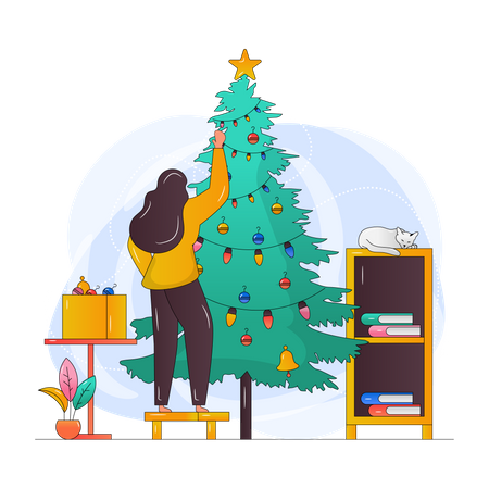 Girl Decorating Christmas Tree Illustration