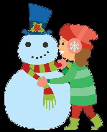 Girl decorating snowman Illustration