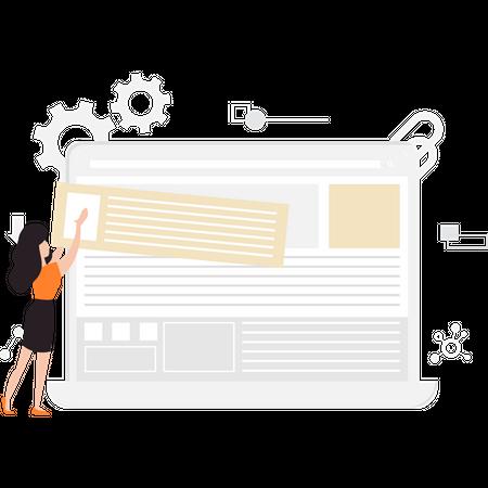 Girl developer creating web layout Illustration