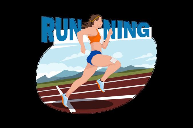 Girl Doing athlete Running Illustration